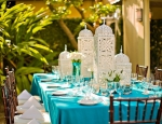 Wedding table with blue tablecloth at Hotel Escalante